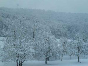 Winterlandschaft vor dem Fenster