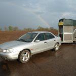 Das C2C Mobil vor dem Regenbogen